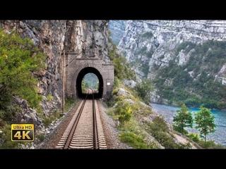 4K CABVIEW Capljina - Sarajevo - 99 tunnels and 65 bridges - The Neretva River Canyon