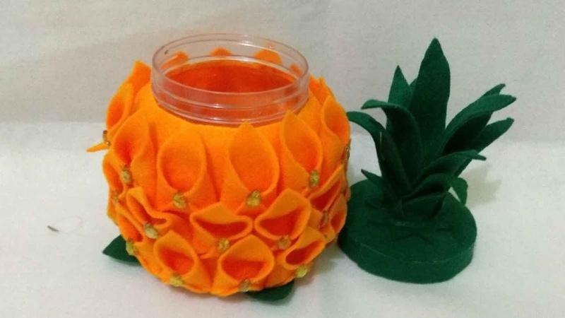 12) Cara Membuat tempat Permen berbentuk Nanas dari Flanel | Pineapple Candy | Kreasi Lebaran