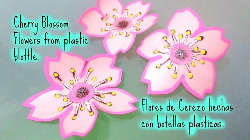 CHERRY BLOSSOM FLOWERS FROM PLASTIC BOTTLE FLORES DE CEREZO HECHAS CON BOTELLAS DE PLASTICO
