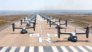 Watch Twenty six MV-22B Osprey and 15 CH-53E Take Off Together in an Elephant Walk
