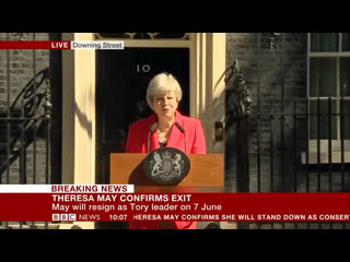 Theresa May announces she will resign on 7 June