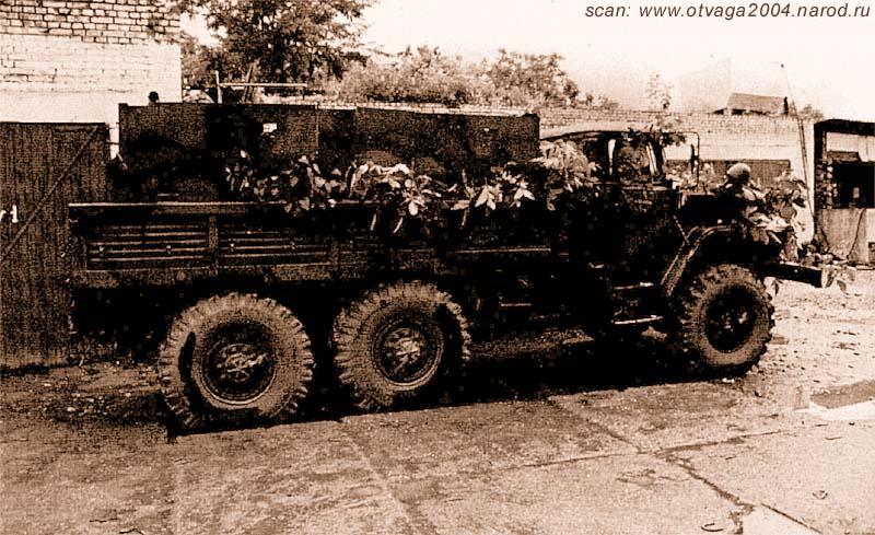 Урал-4320 «Маруся» на стоянке, после участия в проведении спецоперации. Чечня, июнь 2002 года