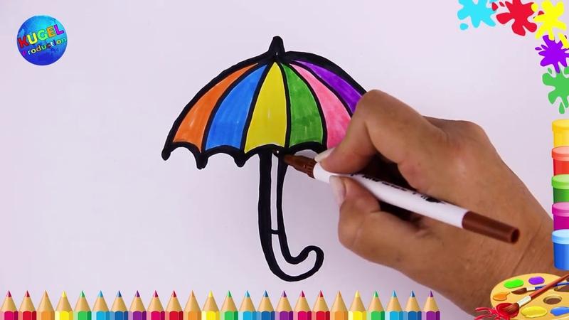 Зонтик Урок рисования для малышей Как нарисовать зонт Раскраска