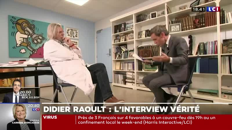 Didier Raoult vs David Pujadas sur LCI L'Heure du bilan 27 10 2020