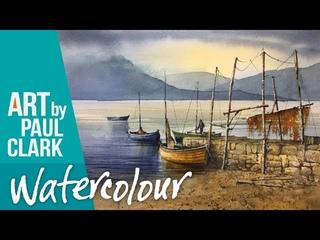 Акварель. Пристань с катерами. How to paint a Scottish Highland Scene in Watercolour