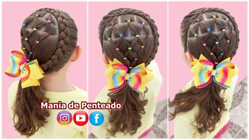 Penteado Infantil com Trança Inversa e Ligas Braid Hairstyle with Rubber Band for Girls