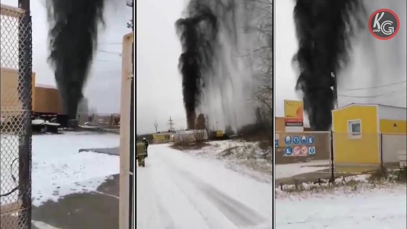 Нефтяной фонтан в Югре Ханты Мансийский автономный округ