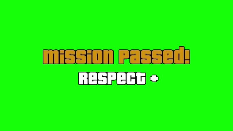 V Mission Passed Green Screen HD Chroma