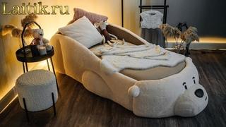 Мягкая кровать Мишка Соня  Испытание ткани