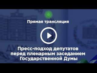 . Пресс-подход депутатов перед пленарным заседанием Госдумы