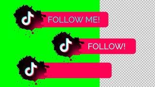 """TikTok Lower Thirds """"Follow me"""", """"Follow"""" green screen, Transparent background"""