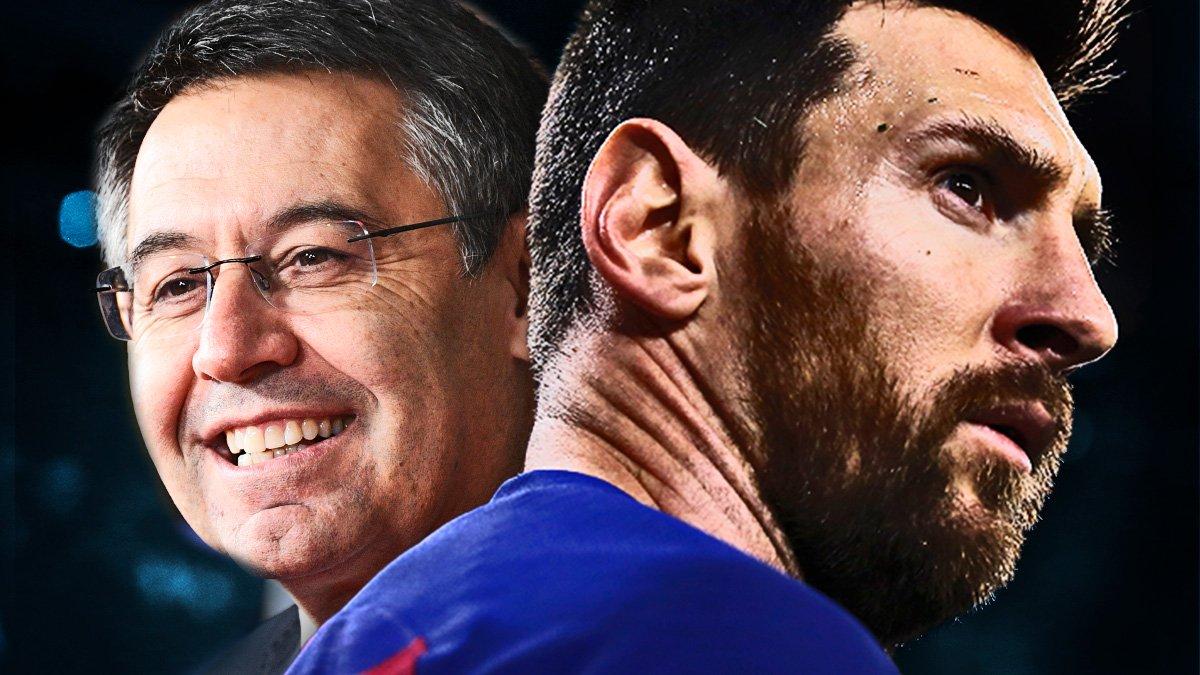 Лионель Месси и Жозеп Бартомеу. ФК Барселона