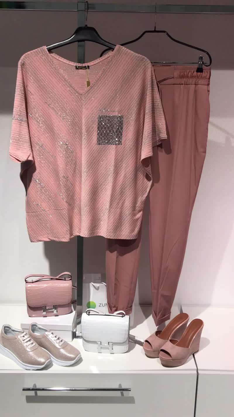 Футболка летучая мышь украшение розовый брюки надин