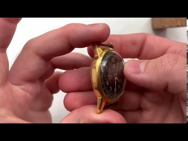 Видеообзор на винтажный позолоченный немецкий наручный хронограф GUB Glashutte 1950 х годов