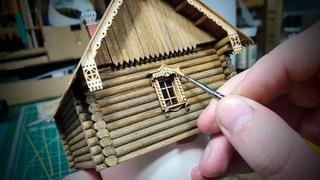 ПОСТРОЙКА ИЗБЫ из БРЕВНА СВОИМИ РУКАМИ. Масштаб 1/72. Construction of a wooden house.