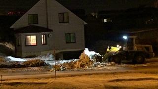 Сдвинул снег от частного дома на ул. Павлова в Бердске - на газон к многоэтажке