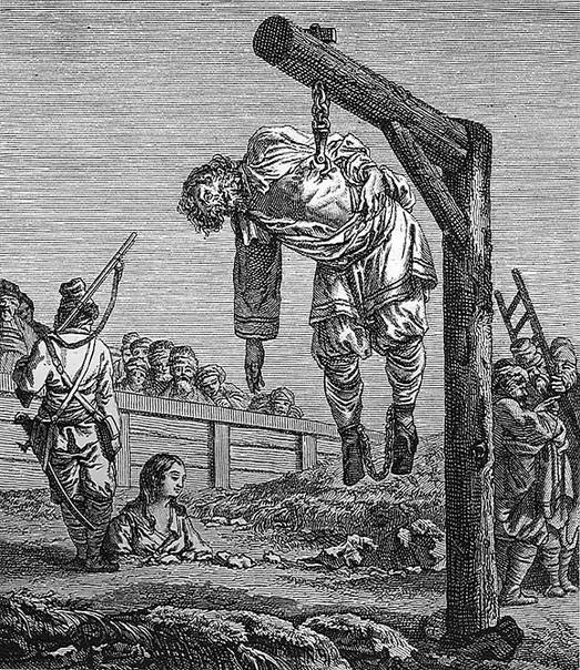Подвешивание за ребро (груди, нижнюю челюсть) на крюк Это наказание не было столь распространено, как обезглавливание или повешение, но все-таки использовалось достаточно часто, особенно в