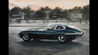 Oil painting jaguar E-type