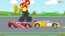 Мультики про машинки Все серии подряд Желтая гоночная машинка ГОНКА HD