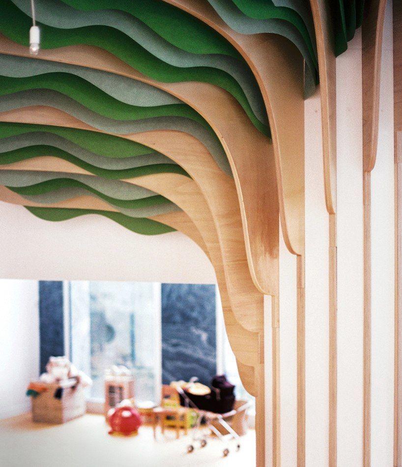 studio millimètre installed a monumental, six meter high tree in the arco iris nursery in boulogne billancourt.