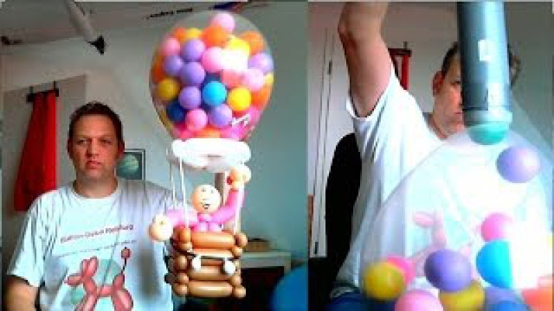 Ballonfahrer aus Luftballons Balloonist out of balloons how to fill things into a balloon