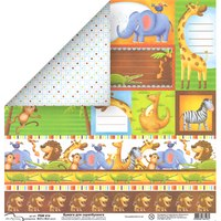 (190)414 Зоопарк Mr.Painter для скрапбукинга PSW 30.5х30.5 см,  плотность 190 г/м2;  Цена - 42руб.