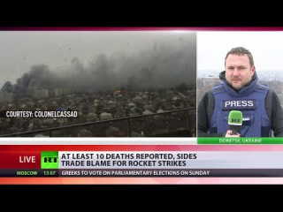 Artillery shelling in Mariupol, Ukraine, sides trade blame