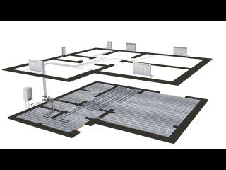 Схема отопления двухэтажного дома теплый пол + коллекторное отопление