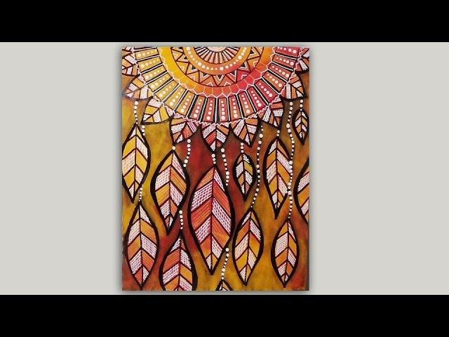 Dreamcatcher Mandala Autumn Leaves Mixed Media Doodle LoveAutumnArt