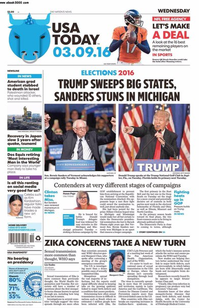 USA Today  March 09 2016