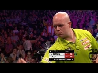 Michael van Gerwen vs Phil Taylor (2017 Premier League Darts / Week 14)