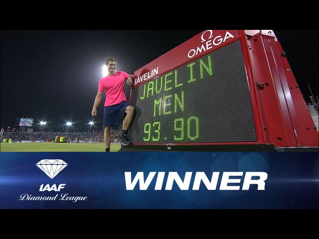 Thomas Röhler unleashes a huge throw of 93 90 Men's Javelin IAAF Diamond League Doha 2017