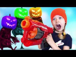 Bad Baby Nerf War vs Giant Halloween Pumpkin Monster IRL! Learn colors Nursery Rhymes Songs for Kids