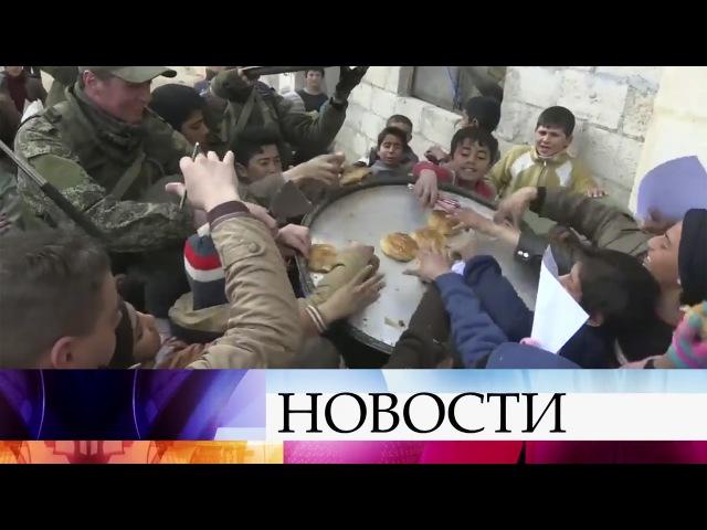 Российские военные развернули мобильный госпиталь влагере беженцев вВосточном Алеппо