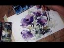 Hedwig's Art Purple flowers watercolor