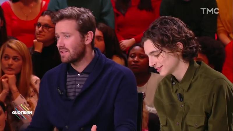Quotidien - Invités Timothée Chalamet et Armie Hammer _ atouts charme du jour