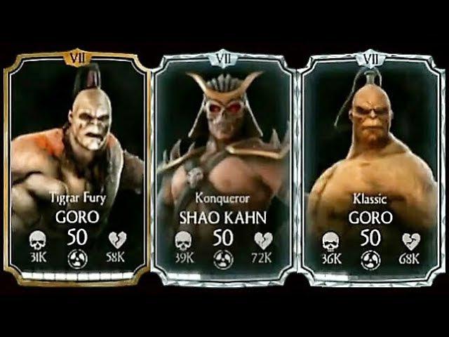 MKX Mobile Update 1.15 All New Characters Gameplay : Konqueror Shao Kahn, Klassic Tigrar Fury Goro