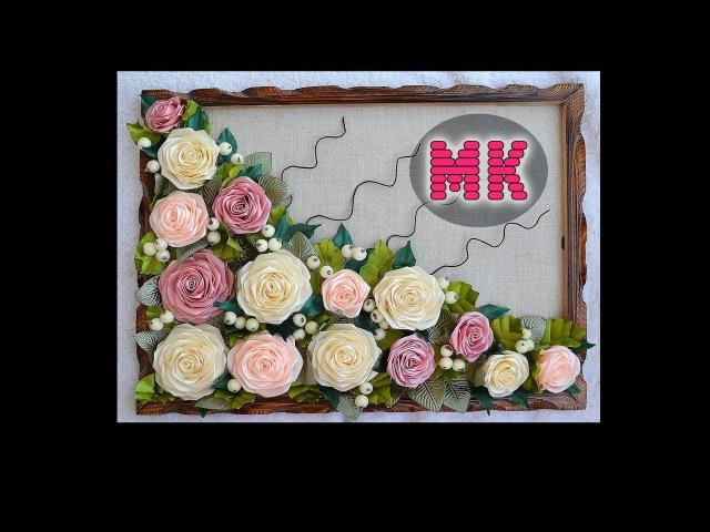 МК Шикарное панно с розами обзор пресс-формы для изготовления листиковDIY 3D panel with roses