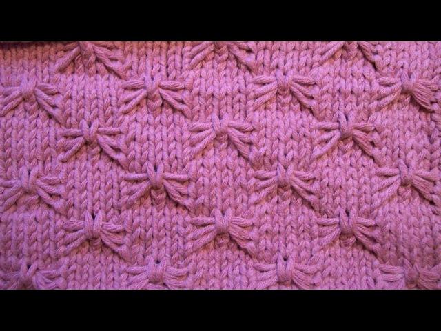 Рельефный узор Бабочки Вязание спицами Видеоурок 46