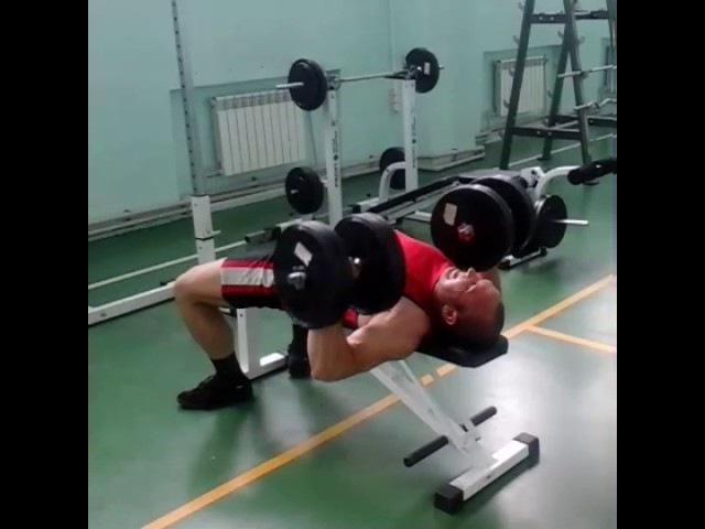 Тренировка 02 июня пятница СК Блюминг жим гантелей 40 кг х 15