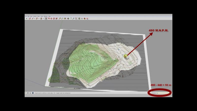 SketchUp. Modelowanie terenu z warstwic, mapowanie tekstury Terrain Model from Contours
