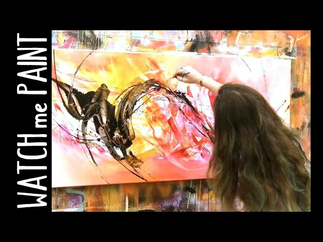 Abstract large acrylic painting demo speedpainting timelapse by zacher finet