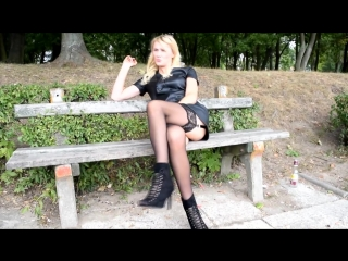 Blonde girl in nylon stockings and leather dress outdoor upskirts panties