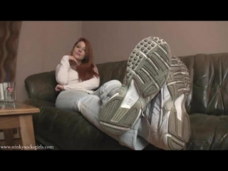Goddess Victoria Foot worship sneakers smell stinky socks tease sexy serbian feet