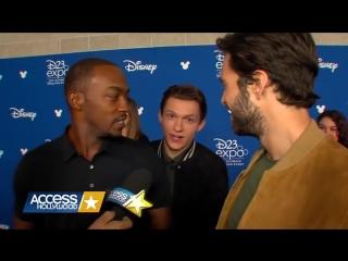 Энтони Маки и Себастьян Стэн сново троллят Тома Холланда.Интервью на D23