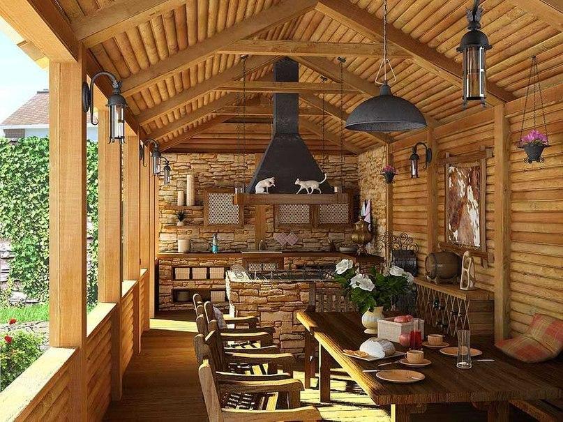Летняя кухня из бревна для дачи: функциональное сооружение, изображение №3