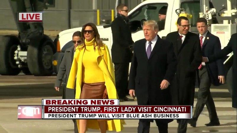 President Trump first lady Melania Trump arrive at Cincinnati Lunken Airport