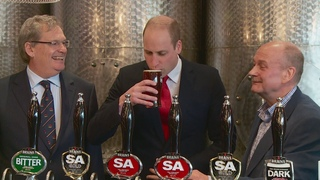 Prince William's near miss as beer cask explodes during brewery visit