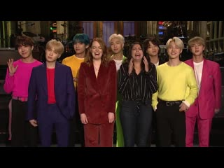 190412 emma stone and cecily strong are freaking out about bts @ snl preview