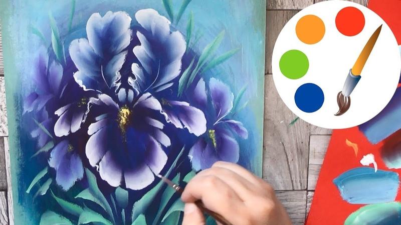 Painting Iris, Acrylic Painting, OneStroke